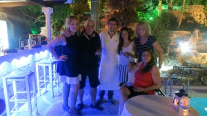With Yannis and family at Caesar's restaurant - Lindos, Rhodes, 2013.