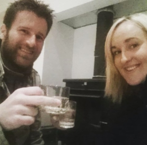 Celebrating getting keys by drinking prosecco from tiny tumblers - the only thing we had to hand at the time!